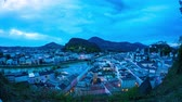 riverbank : Spectacular time-lapse panorama view of Salzburg, Austria