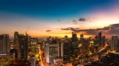 MANILA, PHILIPPINES - CIRCA MARCH 2018: Top time-lapse view on the Skyline of Makati during sunset circa March, 2018 in Manila, Philippines.