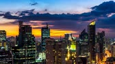 MANILA, PHILIPPINES - CIRCA MARCH 2018: Time-lapse view on the skyline of Makati during sunset circa March, 2018 in Manila, Philippines.