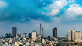 HO CHI MINH CITY, VIETNAM - CIRCA FEBRUARY 2018: Time-lapse view on the skyline of the city on a cloudy day circa February 2018 in Ho Chi Minh City, Vietnam.