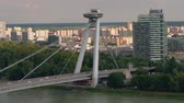 raumschiff : BRATISLAVA, SLOVAKIA - CIRCA AUGUST 2019: View on the city with the River Danube and the famous UFO Bridge circa August 2019 in Bratislava, Slovakia.