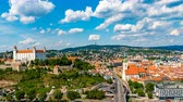 BRATISLAVA, SLOVAKIA - CIRCA AUGUST 2019: Time-lapse view over the city, the castle and the river Danube circa August 2019 in Bratislava, Slovakia.