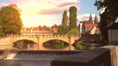 bayrisch : NUREMBERG, GERMANY - CIRCA MAY 2019: View historic Architecture and the river Pegnitz during sunset circa May 2019 in Nuremberg, Germany.