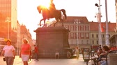 ZAGREB, CROATIA - CIRCA AUGUST 2019: View on the Statue of Ban Jelacic during Sunset circa August 2019 in Zagreb, Croatia. Stok Video