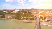BRATISLAVA, SLOVAKIA - CIRCA AUGUST 2019: Panoramic view over the city and the river Danube circa August 2019 in Bratislava, Slovakia. Stok Video