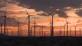 kansas : sunset wind turbines
