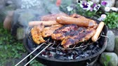 pork meat : Barbecue grilled Stock Footage
