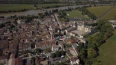 Aerial view of old old town of cadillac, Bordeaux, Gironde, France Dostupné videozáznamy
