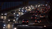korken : Car traffic jam on the highway by night, Pont Aquitaine, Bordeaux, France