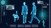 research : Digital motion graphic of a virtual walking male in 3D illustration for medical and scientific research data