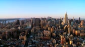 chrysler building : Aerial view of Downtown Manhattan at Sunset, NY, USA Stock Footage