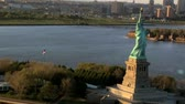 statue : Aerial view of the Statue of Liberty, Ellis Island and Downtown Manhattan, New York, North America, USA