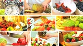 уксус : Montage collection of fresh food being prepared as part of a modern healthy lifestyle eating plan Стоковые видеозаписи