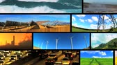 renewable sources : Montage collection of a clean environment & renewable power sources and fossil fuel pollution