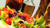 уксус : Tempting selection of fresh crisp salad vegetables & oils making a healthy nutritious meal