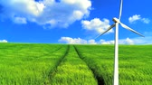 renewable sources : Time-lapse clouds & blue sky over green grass fields and clean wind farm energy production