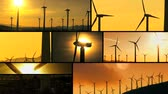 renewable sources : Montage collection of wind turbines producing clean energy in remote locations & powerful setting sun Stock Footage