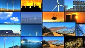 solar energy power : Montage of clips contrasting renewable clean energy production with fossil fuel pollution & the damage it can cause Stock Footage
