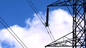 renewable sources : Time-lapse clouds & blue sky behind an electricity pylon Stock Footage