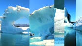 bez szwu : Moving graphics of melting icebergs on a seamless loop to depict climate change