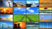 renewable sources : Montage in LCD (Liquid Crystal Display) of energy production affecting environmental damage Stock Footage