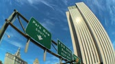 indicação : Fish-eye view of overhead freeway road sign in New York City, USA