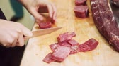 dining table : preparation meat cutting for cooking in kitchen at restaurant.