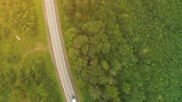 大型トラック : Fly over drone view. One white truck is driving along the freeway amidst a dense forest in the mountains. 4K.