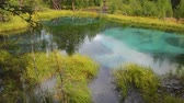 tökfej : Blue geyser lake in Altay mountains. Siberia. Russia. Panorama Stock mozgókép