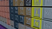хром : Periodic table of the elements. 3D animation. Panorama 4K.