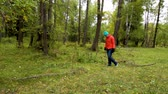 opatrný : A woman is looking for mushrooms in the forest