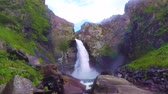 Kurkure waterfall. Slow motion. Altai Mountains Siberia Russia