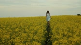 A beautiful young girl dressed in a blue dress walks thoughtfully across a field of yellow flowers. He touches flowers with his hands. Smiles and laughs Wideo