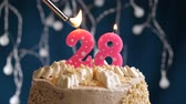 fond rose : Birthday cake with 28 number burning by lighter pink candle on blue backgraund. Candles are set on fire. Slow motion and close-up view Vidéos Libres De Droits