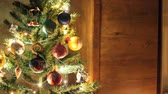 kardan adam : Christmas background. New Years lights. New years toys Stok Video