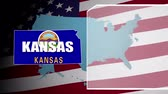 kansas : Kansas Countered Flag and Information Panel Stock Footage