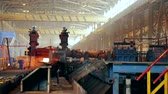 teal : Ironworks plant. Working Machines moves burning hot billet Stock Footage