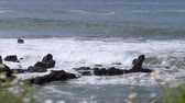view to incoming waves on rough coast Stock Footage