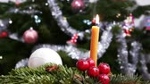 Christmas and New Year decoration with burning candle - 4 k