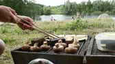 A child grilling vegetables, mushrooms and tofu on a lawn in front of a lake Стоковые видеозаписи