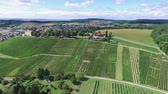 Drone footage. Small german town on vineyards