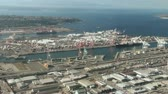 cargo container : Low-flying view of Port of Seattle at Harbor Island
