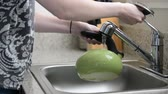 female : Person fills tea kettle in sink Stock Footage