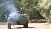 amphibious : armored personnel carriers on parade day naval fleet Stock Footage