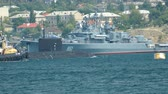 submarine enters a military base - Military-Navy parade Fleet Day of Russia - 31, July, 2016, Sevastopol, Crimea Stock Footage