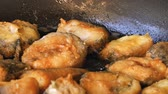 deep fat frying : Frying hake fish outdoors on picnic, close up of frying pan with oil and fish slices