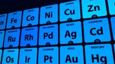 kimyasallar : Periodic table of elements, conceptual animation for chemical science Stok Video