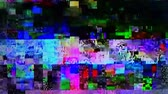 rádióközvetítés : Broken TV, digital glitch during television broadcasting Stock mozgókép