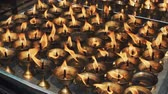 boudhanath : burning prayer oil lamps in a Buddhist temple Stock Footage