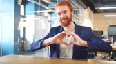 broda : Heart Sign by Man with Red Hairs Wideo